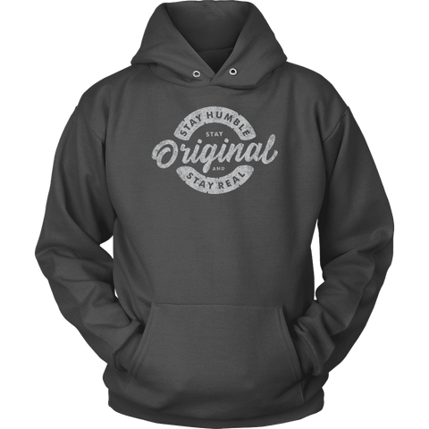 Image of Stay Real, Stay Original | Long Sleeves and Hoodies T-shirt Unisex Hoodie Charcoal S
