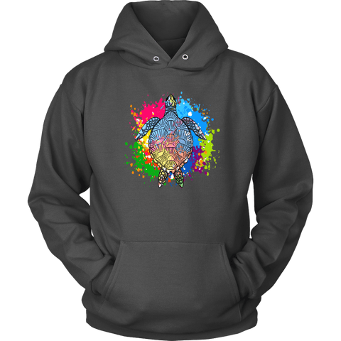 Image of Vibrant Color Splash Sea Turtle T-shirt Unisex Hoodie Charcoal S