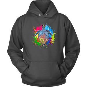 Vibrant Color Splash Sea Turtle T-shirt Unisex Hoodie Charcoal S