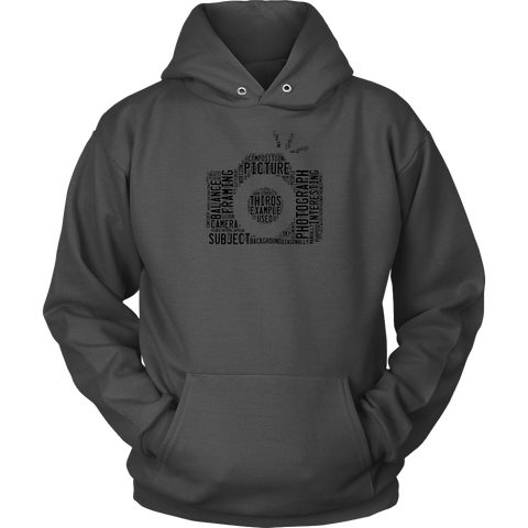 Image of Awesome Word Camera Shirt T-shirt Unisex Hoodie Charcoal S