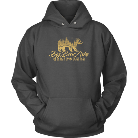 Image of Big Bear Lake California V.2, Gold, Hoodies Long Sleeve T-shirt Unisex Hoodie Charcoal S