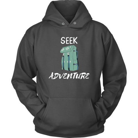 Image of Seek Adventure with Backpack (Mens) T-shirt Unisex Hoodie Charcoal S