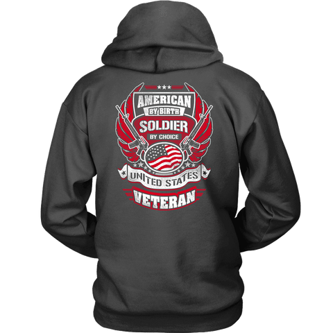 American by Birth, Soldier by Choice T-shirt Unisex Hoodie Charcoal S