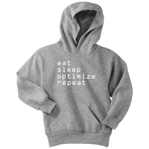 Image of eat, sleep, optimize repeat Hoodie V.1 T-shirt Youth Hoodie Athletic Heather XS