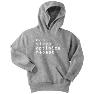 eat, sleep, optimize repeat Hoodie V.1 T-shirt Youth Hoodie Athletic Heather XS