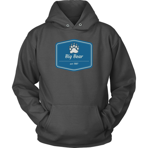 Image of Big Bear Blue Logo T-shirt Unisex Hoodie Charcoal S