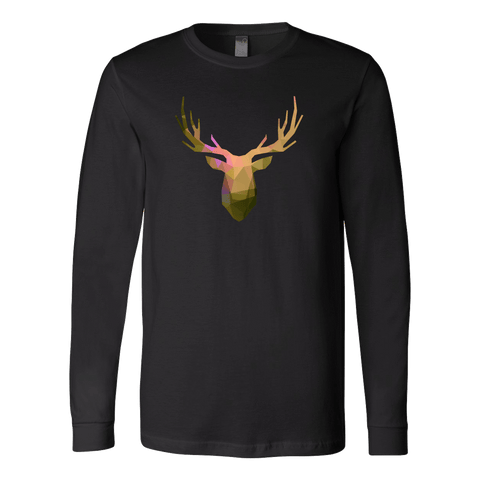 Deer Polygonal 2 T-shirt Canvas Long Sleeve Shirt Black S