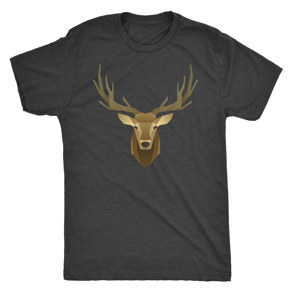 Deer Portrait, Real T-shirt Next Level Mens Triblend Vintage Black S