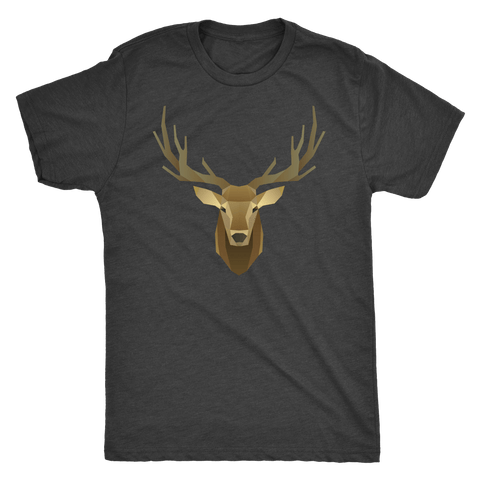 Image of Deer Portrait, Real T-shirt Next Level Mens Triblend Vintage Black S
