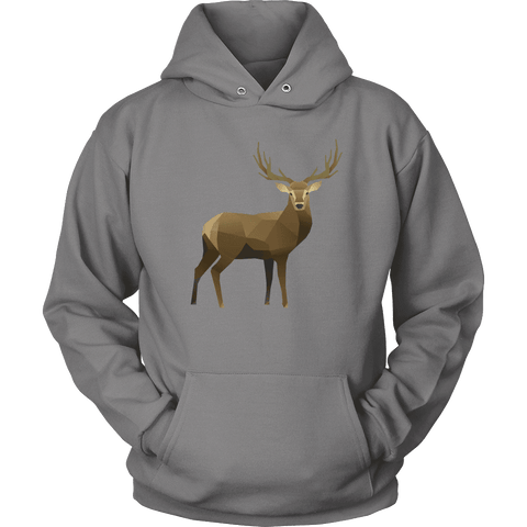 Real Polygonal Deer T-shirt Unisex Hoodie Grey S