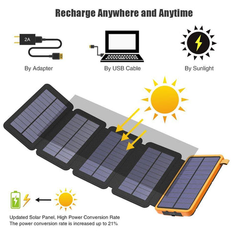 Waterproof  Solar Power Bank  with LED Light