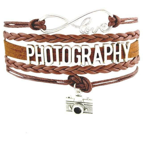 Image of Infinity Love Photography Leather Wrap Charm Bracelets B0988