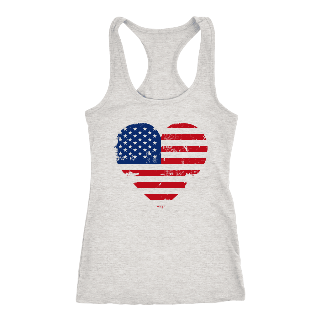 Love America Racerback Tanktop T-shirt Next Level Racerback Tank Heather Grey XS