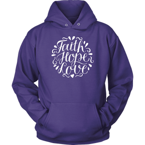 Faith Hope and Love, White Print T-shirt Unisex Hoodie Purple S