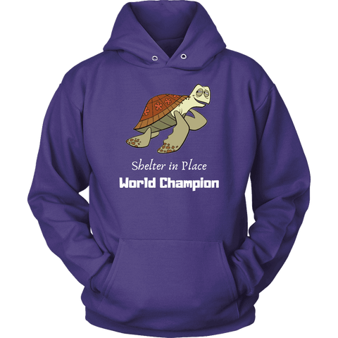 Shelter In Place World Champion, White Print Long Sleeve Hoodie T-shirt Unisex Hoodie Purple S