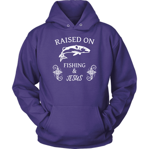 Fishing and Jesus, White T-shirt Unisex Hoodie Purple S
