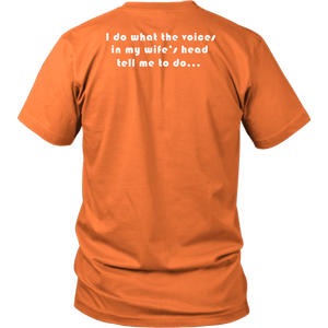 Voices in Her Head | White Print T-shirt District Unisex Shirt Orange S