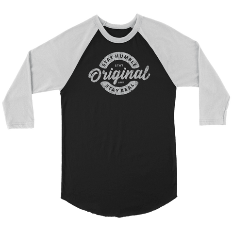 Image of Stay Real, Stay Original | Long Sleeves and Hoodies T-shirt Canvas Unisex 3/4 Raglan Black/White S
