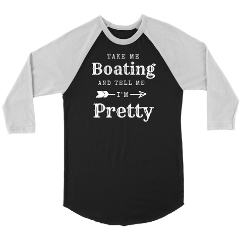 Image of Take Me Boating Womens Shirts T-shirt Canvas Unisex 3/4 Raglan Black/White S