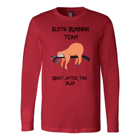 Image of Sloth Running Team T-shirt Canvas Long Sleeve Shirt Red S