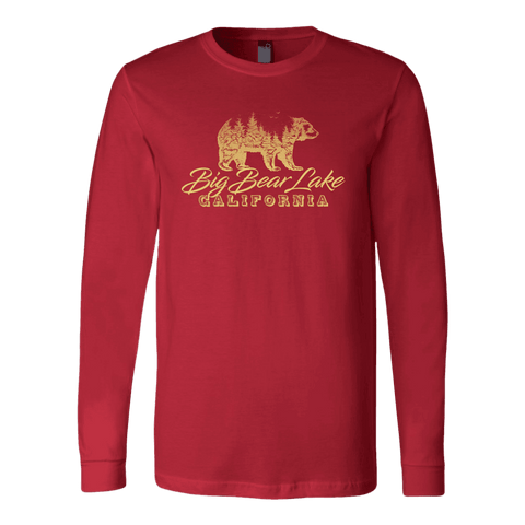 Image of Big Bear Lake California V.2, Gold, Hoodies Long Sleeve T-shirt Canvas Long Sleeve Shirt Red S