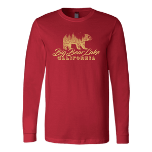 Big Bear Lake California V.2, Gold, Hoodies Long Sleeve T-shirt Canvas Long Sleeve Shirt Red S