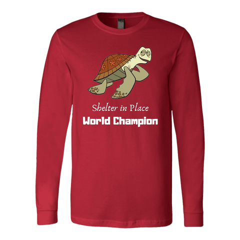 Shelter In Place World Champion, White Print Long Sleeve Hoodie T-shirt Canvas Long Sleeve Shirt Red S