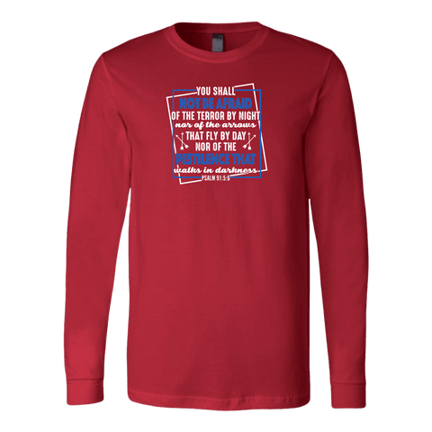 Image of You shall not be afraid Psalm 91 5-6 White Longsleeve and Hoodies T-shirt Canvas Long Sleeve Shirt Red S
