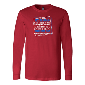 You shall not be afraid Psalm 91 5-6 White Longsleeve and Hoodies T-shirt Canvas Long Sleeve Shirt Red S