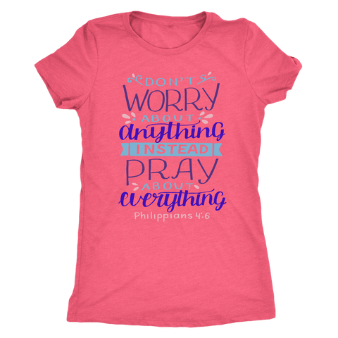 Image of Don't Worry!, Philippians 4:6 T-shirt Next Level Womens Triblend Vintage Light Pink S