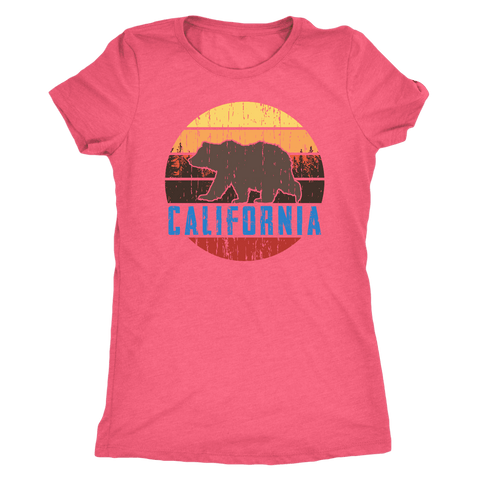Image of Big Bear California Shirt V.1, Womens Shirts T-shirt Next Level Womens Triblend Vintage Light Pink S
