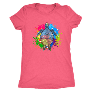 Vibrant Color Splash Sea Turtle T-shirt Next Level Womens Triblend Vintage Light Pink S