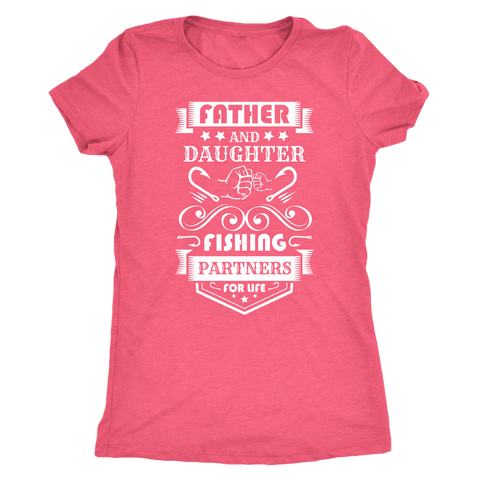 Image of Father and Daughter Fishing Partners T-shirt Next Level Womens Triblend Vintage Light Pink S