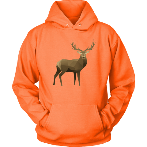 Real Polygonal Deer T-shirt Unisex Hoodie Neon Orange S