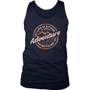 Life Is A Great Adventure T-shirt District Mens Tank Navy S