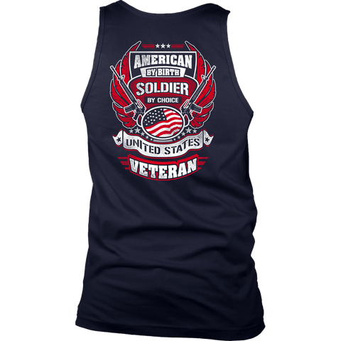 American by Birth, Soldier by Choice T-shirt District Mens Tank Navy S