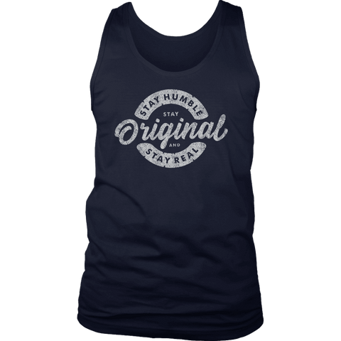 Image of Stay Real, Stay Original Mens Shirts T-shirt District Mens Tank Navy S