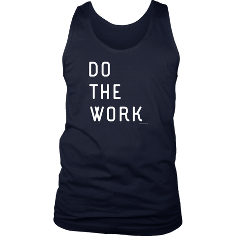 Image of Do The Work | Mens | White Print T-shirt District Mens Tank Navy S