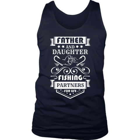 Image of Father and Daughter Fishing Partners T-shirt District Mens Tank Navy S