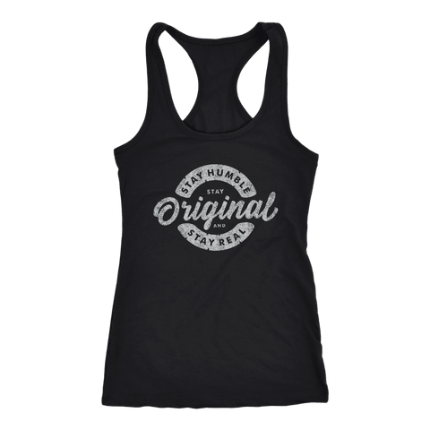 Image of Stay Real, Stay Original Womens T-shirt Next Level Racerback Tank Black XS
