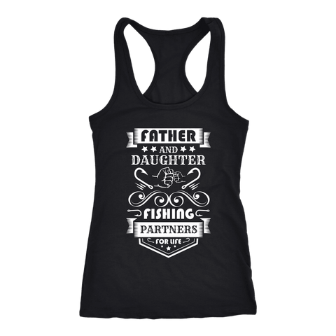 Image of Father and Daughter Fishing Partners T-shirt Next Level Racerback Tank Black XS