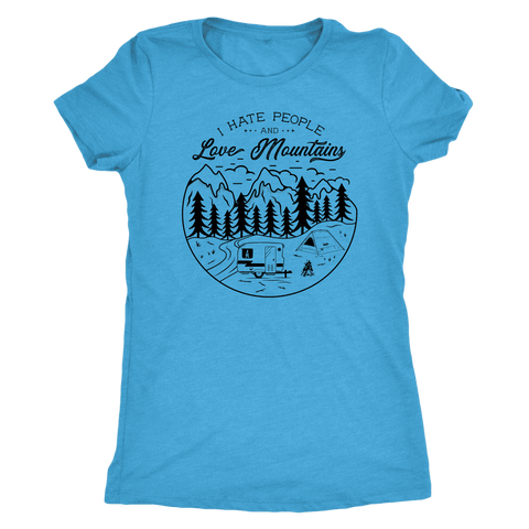 Image of Love The Mountains Womens T-shirt Next Level Womens Triblend Vintage Turquoise S