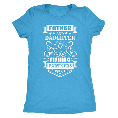 Image of Father and Daughter Fishing Partners T-shirt Next Level Womens Triblend Vintage Turquoise S