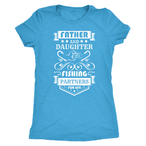 Father and Daughter Fishing Partners T-shirt Next Level Womens Triblend Vintage Turquoise S