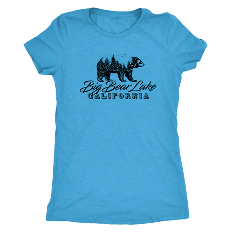 Image of Big Bear Lake California V.2, Womens, Black T-shirt Next Level Womens Triblend Vintage Turquoise S