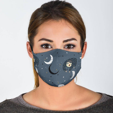 Sleeping Space Sloth Face Mask Face Mask Face Mask - Large Pattern Adult Mask + 2 FREE Filters (Age 13+)