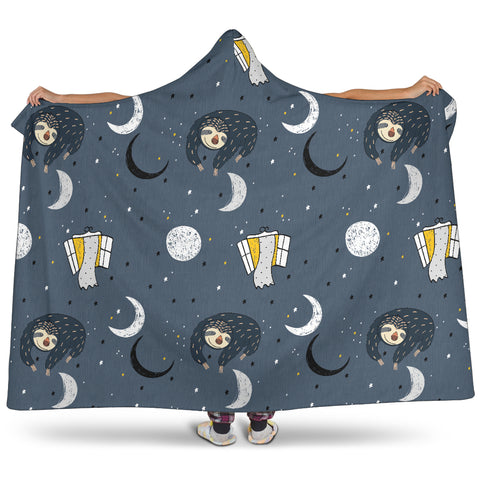 Image of Sleeping Space Sloth Hooded Blanket Large Print