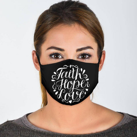 Faith Hope Love Face Mask Face Mask Face Mask - Black Adult Mask + 2 FREE Filters (Age 13+)