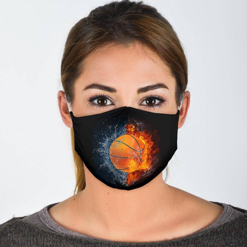 Basketball Lovers Facemask Face Mask Face Mask - White Adult Mask + 2 FREE Filters (Age 13+)