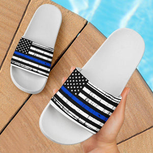 Thin Blue Line Slide Sandals | White